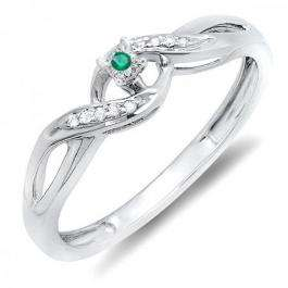 0.06 Carat (ctw) Sterling Silver Round Green Emerald & White Diamond Ladies Crossover Swirl Bridal Promise Engagement Ring