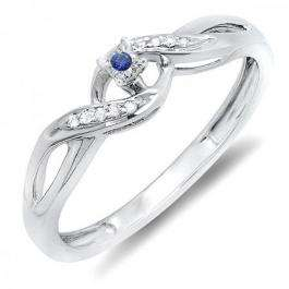0.06 Carat (ctw) Sterling Silver Round Blue Sapphire & White Diamond Ladies Crossover Swirl Bridal Promise Engagement Ring