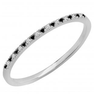 0.08 Carat (ctw) 10k White Gold Round Black & White Diamond Ladies Dainty Anniversary Wedding Band Stackable Ring