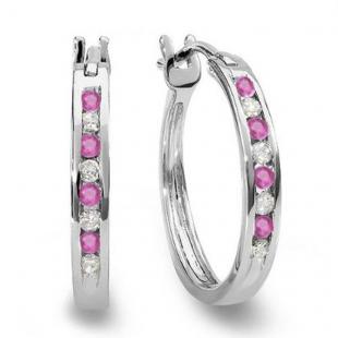 0.20 Carat (ctw) 18K White Gold Round White Diamond & Pink Sapphire Ladies Fine Hoop Earrings 1/5 CT