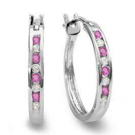 0.20 Carat (ctw) 10K White Gold Round White Diamond & Pink Sapphire Ladies Fine Hoop Earrings 1/5 CT