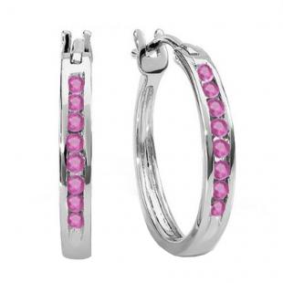 0.20 Carat (ctw) 14K White Gold Round Pink Sapphire Ladies Fine Hoop Earrings 1/5 CT