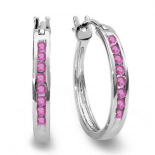 0.20 Carat (ctw) 18K White Gold Round Pink Sapphire Ladies Fine Hoop Earrings 1/5 CT
