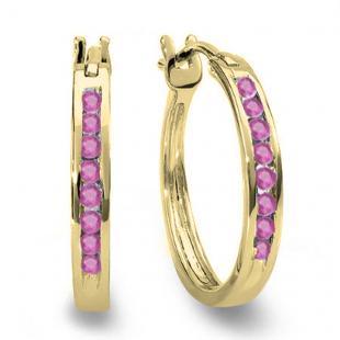 0.20 Carat (ctw) 10K Yellow Gold Round Pink Sapphire Ladies Fine Hoop Earrings 1/5 CT