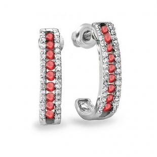 0.55 Carat (ctw) Sterling Silver Ladies Round Ruby And White Diamond Hoop Earrings 1/2 CT