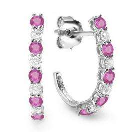 0.50 Carat (ctw) 14K White Gold Round White Diamonds & Pink Sapphire Ladies Fancy J Shaped Hoop Earrings 1/2 CT