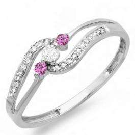 0.20 Carat (ctw) 18k White Gold Round Pink Sapphire And White Diamond Ladies 3 stone Engagement Promise Ring 1/5 CT