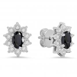 6X4 mm Oval Onyx & Round White Diamond Ladies Flower Cluster Fashion Stud Earrings, 10K White Gold