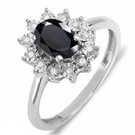 7X5 mm Oval Onyx & Round White Diamond Ladies Flower Cluster Royal Engagement Ring, 10K White Gold