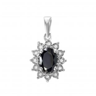 7X5 mm Oval Onyx & Round White Diamond Ladies Fashion Halo Pendant, 10K White Gold