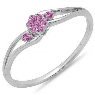 0.10 Carat (ctw) 10k White Gold Round Pink Sapphire Ladies Bridal Swirl Split Shank Cluster Promise Ring 1/10 CT