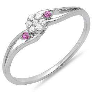 0.10 Carat (ctw) 10k White Gold Round White Diamond & Pink Sapphire Ladies Bridal Swirl Split Shank Cluster Promise Ring 1/10 CT