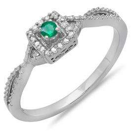 0.15 Carat (ctw) 14k White Gold Round Cut White Diamond & Green Emerald Ladies Crossover Split Shank Engagement Bridal Promise Ring