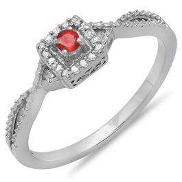 0.15 Carat (ctw) 18k White Gold Round Cut White Diamond & Ruby Ladies Crossover Split Shank Engagement Bridal Promise Ring