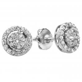 0.40 Carat (ctw) 18K White Gold Round Cut Diamond Round Shape Cluster Earrings Look of 1 CT each