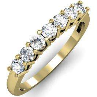 0.50 Carat (ctw) 10K Yellow Gold Round White Diamond Ladies 7 Stone Bridal Wedding Band Anniversary Ring 1/2 CT