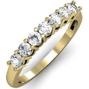 0.50 Carat (ctw) 18K Yellow Gold Round White Diamond Ladies 7 Stone Bridal Wedding Band Anniversary Ring 1/2 CT