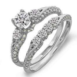 1.45 Carat (ctw) 10k White Gold Round Diamond Ladies 3 Stone Bridal Engagement Ring Set With Matching Band