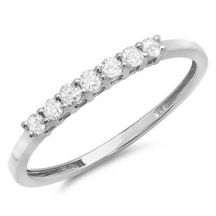 0.25 Carat (ctw) 18k White Gold Round Diamond Ladies 7 Stone Anniversary Wedding Band Stackable Ring 1/4 CT