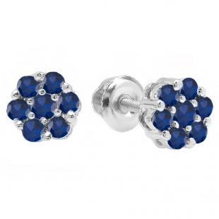 0.40 Carat (ctw) 14K White Gold Round Cut Blue Sapphire Ladies Cluster Flower Stud Earrings