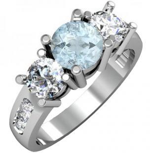 2.00 Carat (ctw) 18K White Gold Round Aquamarine & Diamond Ladies 3 Stone Engagement Bridal Ring 2 CT
