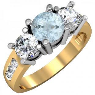 2.00 Carat (ctw) 14K Yellow Gold Round Aquamarine & Diamond Ladies 3 Stone Engagement Bridal Ring 2 CT