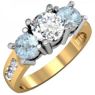 2.00 Carat (ctw) 18K Yellow Gold Round Aquamarine & Diamond Ladies 3 Stone Engagement Bridal Ring 2 CT