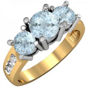 1.90 Carat (ctw) 10K Yellow Gold Round Aquamarine & Diamond Ladies 3 Stone Engagement Bridal Ring