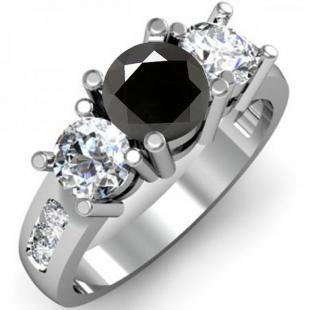 2.00 Carat (ctw) 10K White Gold Round Black & White Diamond Ladies 3 Stone Engagement Bridal Ring 2 CT