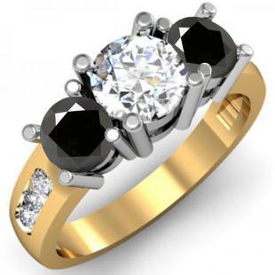 2.00 Carat (ctw) 10K Yellow Gold Round Black & White Diamond Ladies 3 Stone Engagement Bridal Ring 2 CT