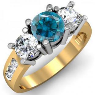 2.00 Carat (ctw) 10K Yellow Gold Round Blue & White Diamond Ladies 3 Stone Engagement Bridal Ring 2 CT