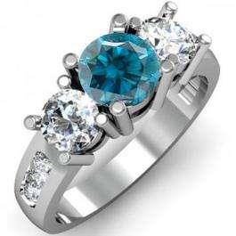 2.00 Carat (ctw) 18K White Gold Round Blue & White Diamond Ladies 3 Stone Engagement Bridal Ring 2 CT
