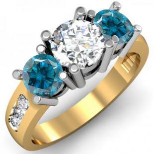 2.00 Carat (ctw) 18K Yellow Gold Round Blue & White Diamond Ladies 3 Stone Engagement Bridal Ring 2 CT