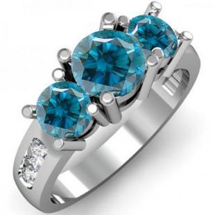 2.00 Carat (ctw) 10K White Gold Round Blue & White Diamond Ladies 3 Stone Engagement Bridal Ring 2 CT