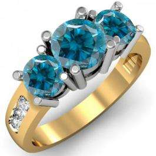 2.00 Carat (ctw) 14K Yellow Gold Round Blue & White Diamond Ladies 3 Stone Engagement Bridal Ring 2 CT