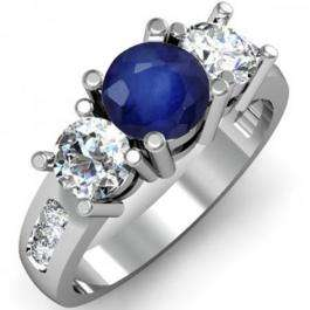 2.00 Carat (ctw) 18K White Gold Round Blue Sapphire & White Diamond Ladies 3 Stone Engagement Bridal Ring 2 CT