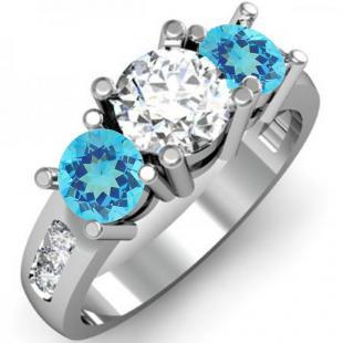 2.00 Carat (ctw) 14K White Gold Round Blue Topaz & White Diamond Ladies 3 Stone Engagement Bridal Ring 2 CT