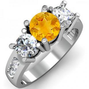 2.00 Carat (ctw) 10K White Gold Round Citrine & White Diamond Ladies 3 Stone Engagement Bridal Ring 2 CT