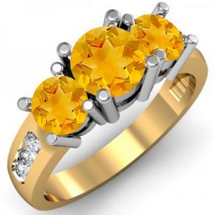 2.00 Carat (ctw) 18K Yellow Gold Round Yellow Citrine & White Diamond Ladies 3 Stone Engagement Bridal Ring 2 CT