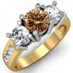 2.00 Carat (ctw) 14K Yellow Gold Round Champagne & White Diamond Ladies 3 Stone Engagement Bridal Ring 2 CT