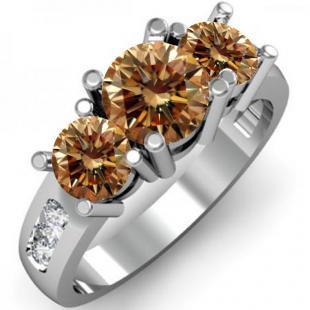 2.00 Carat (ctw) 10K White Gold Round Champagne & White Diamond Ladies 3 Stone Engagement Bridal Ring 2 CT