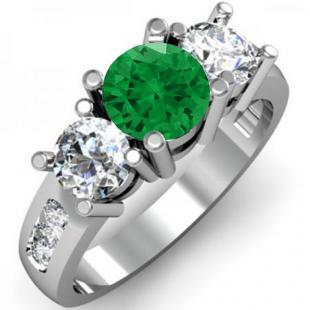 2.00 Carat (ctw) 18K White Gold Round Green Emerald & White Diamond Ladies 3 Stone Engagement Bridal Ring 2 CT