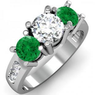 2.00 Carat (ctw) 14K White Gold Round Green Emerald & White Diamond Ladies 3 Stone Engagement Bridal Ring 2 CT