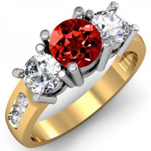2.00 Carat (ctw) 14K Yellow Gold Round Red Garnet & White Diamond Ladies 3 Stone Engagement Bridal Ring 2 CT