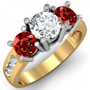 2.00 Carat (ctw) 18K Yellow Gold Round Red Garnet & White Diamond Ladies 3 Stone Engagement Bridal Ring 2 CT