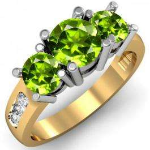 2.00 Carat (ctw) 10K Yellow Gold Round Green Peridot & White Diamond Ladies 3 Stone Engagement Bridal Ring 2 CT