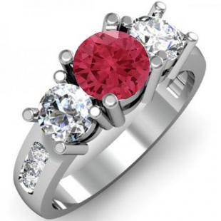 2.00 Carat (ctw) 18K White Gold Round Red Ruby & White Diamond Ladies 3 Stone Engagement Bridal Ring 2 CT