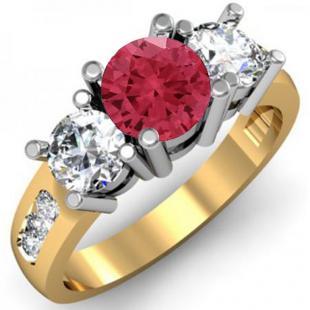 2.00 Carat (ctw) 18K Yellow Gold Round Red Ruby & White Diamond Ladies 3 Stone Engagement Bridal Ring 2 CT