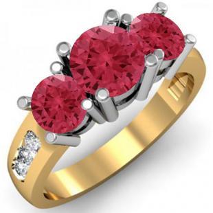 2.00 Carat (ctw) 14K Yellow Gold Round Red Ruby & White Diamond Ladies 3 Stone Engagement Bridal Ring 2 CT