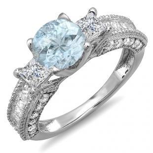 3.15 Carat (ctw) 18k White Gold Round Blue Aquamarine & Princess White Diamond Ladies 3 Stone Engagement Bridal Ring